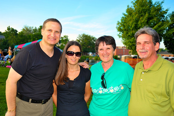 Ed Haskell ('77), Jessica Haskell ('05), Donna Haskell Lannon ('67) and Paul Haskell ('70) enjoying the 2011 Baldwinsville Alumni weekend presented by the C. W. Baker Alumni Association at Paper Mill Island in Baldwinsville, New York on Friday, August 5, 2011.