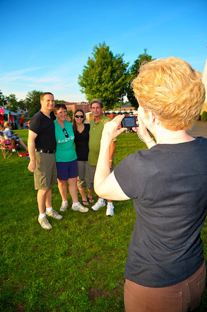 Ed Haskell ('77), Jessica Haskell ('05), Donna Haskell Lannon ('67) and Paul Haskell ('70) posing for a photo during the 2011 Baldwinsville Alumni weekend presented by the C. W. Baker Alumni Association at Paper Mill Island in Baldwinsville, New York on Friday, August 5, 2011.