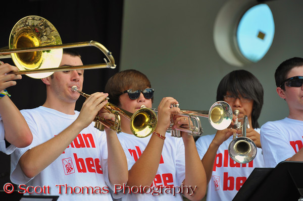 The Baldwinsville PEP Band performing at the 2011 Baldwinsville Alumni weekend presented by the C. W. Baker Alumni Association at Paper Mill Island in Baldwinsville, New York on Friday, August 5, 2011.