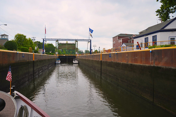 Entering Lock 24 in Baldwinsville during the Mid-Lakes Navigation Lunch Cruise on the Seneca River during the 2011 Baldwinsville Alumni weekend presented by the C. W. Baker Alumni Association on Saturday, August 6, 2011.