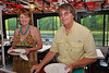 Lori Robbins ('76) and John Reidy ('76) at the buffet during the Mid-Lakes Navigation Lunch Cruise on the Seneca River during the 2011 Baldwinsville Alumni weekend presented by the  C. W. Baker Alumni Association on Saturday, August 6, 2011.