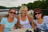Betsy Matthews ('71), Carol Lyness Paterno ('71) and Barbara Matthews ('71) hanging out on deck during the Mid-Lakes Navigation Lunch Cruise on the Seneca River during the 2011 Baldwinsville Alumni weekend presented by the  C. W. Baker Alumni Association on Saturday, August 6, 2011.