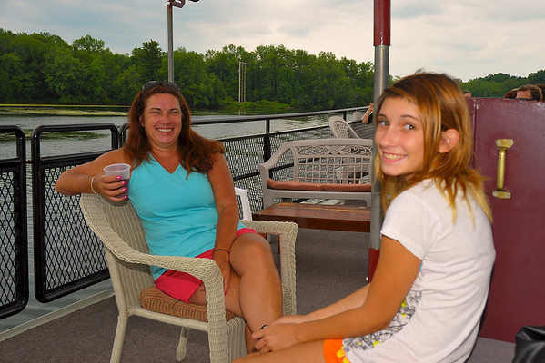 Sandy Mitchell ('81) on deck with her daughter during the Mid-Lakes Navigation Lunch Cruise on the Seneca River during the 2011 Baldwinsville Alumni weekend presented by the  C. W. Baker Alumni Association on Saturday, August 6, 2011.