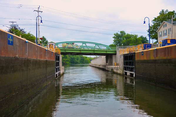 Lock 24 western gates open during the Mid-Lakes Navigation Lunch Cruise on the Seneca River during the 2011 Baldwinsville Alumni weekend presented by the  C. W. Baker Alumni Association on Saturday, August 6, 2011.