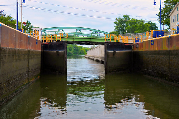 Lock 24 western gates opening during the Mid-Lakes Navigation Lunch Cruise on the Seneca River during the 2011 Baldwinsville Alumni weekend presented by the  C. W. Baker Alumni Association on Saturday, August 6, 2011.