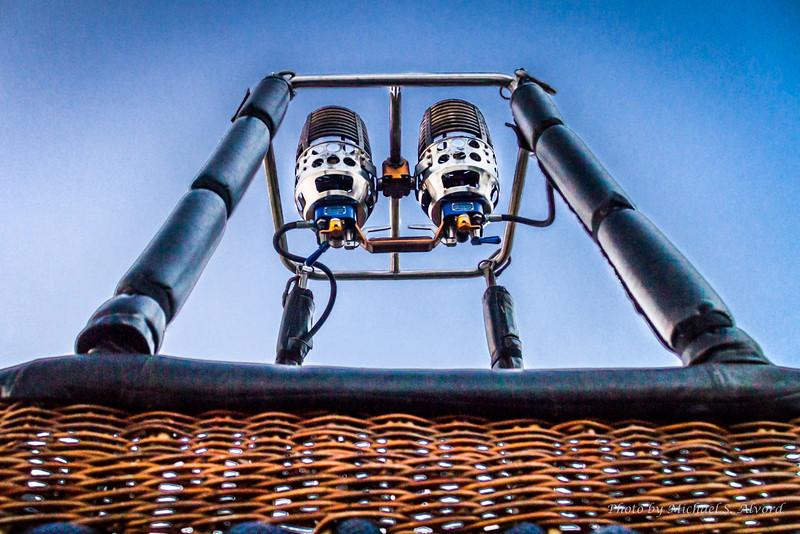 Looking up at the ballon burners.