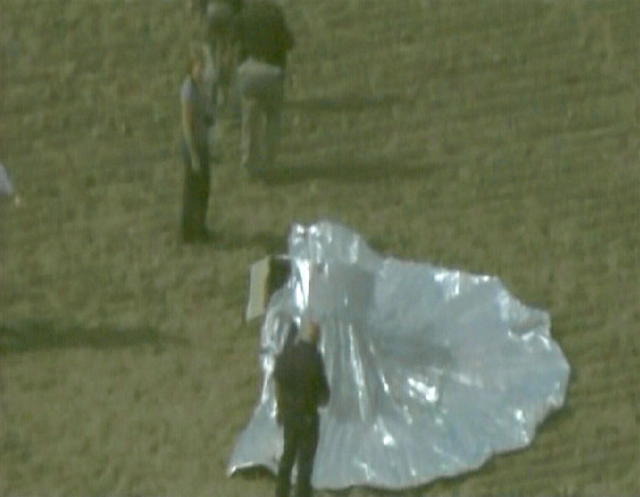 In this image rendered from video and released by KMGH-TV in Denver, a homemade balloon aircraft is seen after it landed in a Colorado field near Ft. Collins Thursday, Oct. 15, 2009, but there was no sign of the 6-year-old boy believed to be inside. (AP Photo/KMGH-TV ) MANDATORY CREDIT; NO SALES