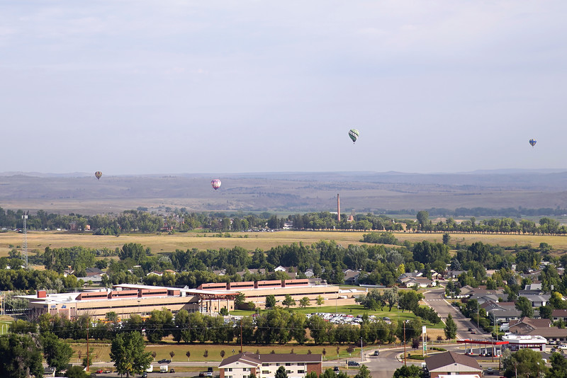 Matthew Gaston | The Sheridan Press<br>Hot air balloons fill the sky above Sheridan for Balloon the Bighorns Friday, Sept. 6, 2019.