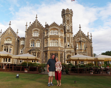 """Our honeymoon hideout near Windsor was the slightly macabre Oakley Court Hotel.  You can learn about the interesting history of this """"Victorian Gothic country house"""" at: http://en.wikipedia.org/wiki/Oakley_Court.  It's main buildings are over 150 years old.  One of it's most contemporary claims to fame is being the location for the filming of The Rocky Horror Picture Show, as well as several other noted British productions.  The main structure has an unusual collection of creepy gargoyles adorning the walls and rooftops."""