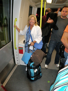Getting through customs is always a maze of escilators, elivators, ramps, and in Heathrow's case, a ride on a subway link from one terminal to another.  The lines, however, moved efficiently and we were soon accepted into the country as LEGAL foreign tourists.