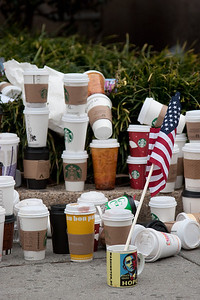 Part of the pile of coffee cups -- President Barack Obama's Second Inauguration, Jan 21, 2013