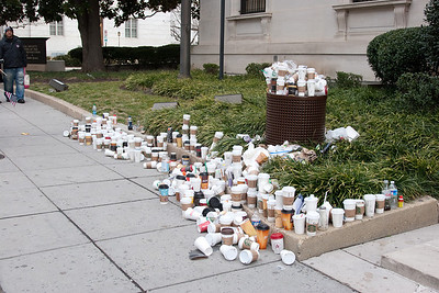Near DAR Constitution Hall on 18th Street, a huge pile of coffee cups (mostly Starbucks!) -- President Barack Obama's Second Inauguration, Jan 21, 2013