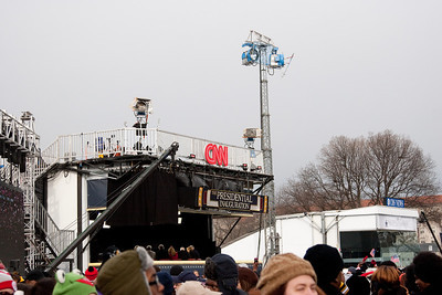 CNN & CBS large booths in center of National Mall (just beyond the Castle) -- President Barack Obama's Second Inauguration, Jan 21, 2013