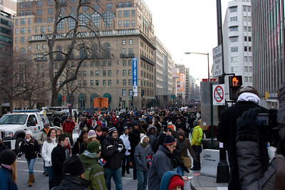 Looking east on I (Eye) Street, NW from the corner of 17th St (Farragut Square) -- Presidential Inauguration for Barack Obama, Jan 20, 2009. It was about 25 degrees out with a crowd estimated at 1.5-1.8 million people.