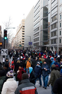 Looking west down I (Eye) St, NW -- Presidential Inauguration for Barack Obama, Jan 20, 2009. It was about 25 degrees out with a crowd estimated at 1.5-1.8 million people.