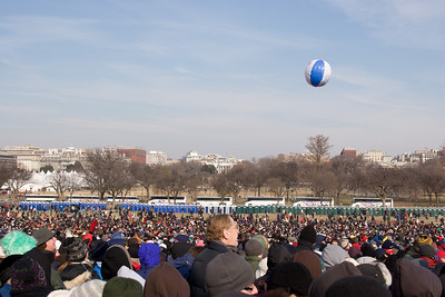 From our spot near the Washington Monument, this view north shows the White House with a line of coaches and port-o-potties in the mid-distance. The Jumbotron screen was to the right (out of view here). -- Presidential Inauguration for Barack Obama, Jan 20, 2009. It was about 25 degrees out with a crowd estimated at 1.5-1.8 million people.