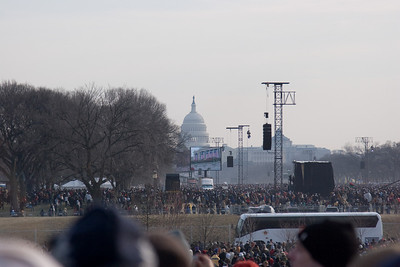 The crowd was really dense and it was past 10am. From the grounds of the Washington Monument, we pushed forward so we could see the Capitol (for this photo)  before retreating. -- Presidential Inauguration for Barack Obama, Jan 20, 2009. It was about 25 degrees out with a crowd estimated at 1.5-1.8 million people.