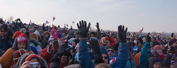 The crowd celebrates after the Oath is completed and Obama is now officially President. -- Presidential Inauguration for Barack Obama, Jan 20, 2009. It was about 25 degrees out with a crowd estimated at 1.5-1.8 million people.