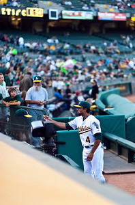 Coco Crisp (what a name!) tossing back the cap he just signed...
