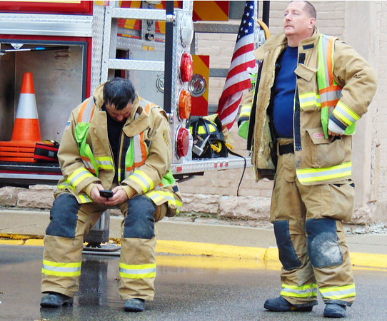 Debbie Blank | The Herald-Tribune<br /> After the exhausting day, some Greensburg firefighters needed to rest. Morris accountability officer Jim Kirschner said 53 or 54 firefighters from Morris, Batesville, Oldenburg, Sunman and Greensburg pitched in.