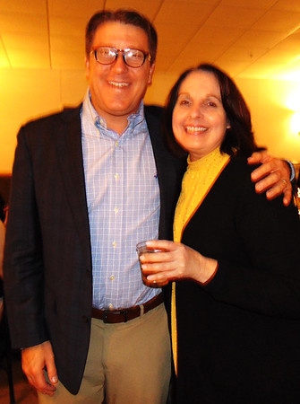 Brad Dickey and Tina Longstreth were in festive spirits before the buffet line began.