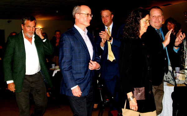 """Peter Hillenbrand (from left), Bill Hillenbrand and Claire Sherman of the John A. Hillenbrand Foundation received a standing ovation upon accepting the Organization of the Year honor. Bill Hillenbrand said, """"The recognition is very much appreciated, but certainly not expected."""""""