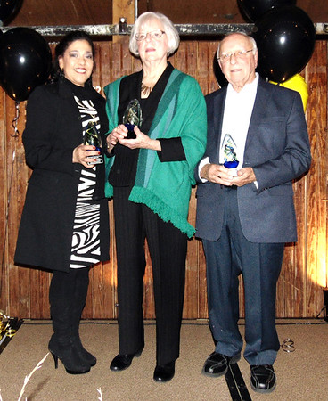 Diane Raver | The Herald-Tribune<br /> Batesville Area Chamber of Commerce award winners (from left) were Mayra Adams, representing Organization of the Year, the Hispanic Community Advisory Committee; Volunteer of the Year Jeanne Siefert; and Educator of the Year John Armbruster.