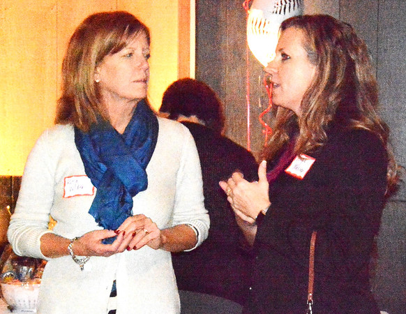 Debbie Blank | The Herald-Tribune<br /> Rita Wilder (left) of Agresta, Storms & O'Leary chats with Angie Messer of Hilliard Lyons.