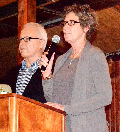 "Diane Raver | The Herald-Tribune<br /> Bill Flannery (left) and Carolyn Dieckmann accepted the Organization of the Year honor for the Batesville Area Historical Society for their work to mark the Indiana Bicentennial in Batesville. Dieckmann concluded, ""We want to thank all the citizens of Batesville for their encouragement, kind words and especially their support of this huge undertaking in bringing pride to this great city. We made some great memories."""