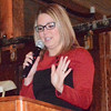 "Diane Raver | The Herald-Tribune<br /> Chamber executive director Anna Ibold recognized all corporate platinum, gold and silver sponsors. ""We do have a new level of sponsorship this year,"" a bronze category. She also saluted outgoing board members Scott Henderson of Focal Point Business Coaching and Shawwn Storms of Agresta, Storms & O'Leary. ""We do appreciate their commitment."""