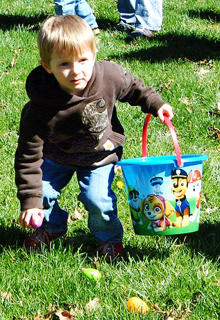 Diane Raver | The Herald-Tribune<br /> Kids is the youngest age group took their time picking up eggs.