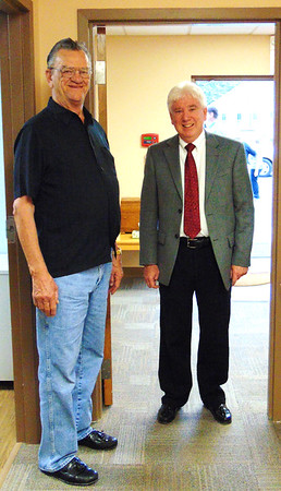 Debbie Blank | The Herald-Tribune<br /> Ron Fledderman (left) and Mayor Mike Bettice prepare to tour BARC's health center. When Fledderman and Doug Bessler sold the building to the city for a vastly undervalued $67,000 in 2014, it probably was hard for them to imagine the lives their gift would touch. The underprivileged are able to get food and health services at the building, which will house more nonprofits in the future.