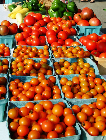 Debbie Blank | The Herald-Tribune Big and little tomatoes, peppers and squashes were offered by Jan Baker, Oldenburg.