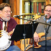 After the ukeleles concert, dad Mike Kruse (left), Batesville, and son Adam Kruse, Champaign, Illinois, harmonized on a few roots/Americana tunes. Later they were joined by friends Michael Beck, Phil Minnis, Leon Enneking and Bill Blank. The entertainment extravaganza concluded with magician Don Miller and his own brand of comedy plus Louisville's premiere jazz group, the Ron Jones Quartet. Refreshments were served throughout the evening.