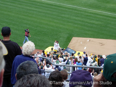 Dennis Eckersley driven off the Coliseum field following Eckersley Day ceremonies, August 13, 2005