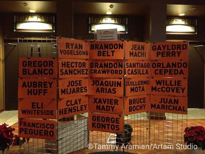 Magnetized name placards from the World Series parade cars, starting at $125.