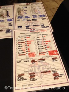 These are not the actual original lineup cards, they are COPIES. Ooh, but they're laminated!