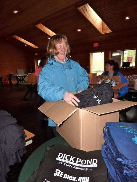 Eileen helps to do the sorting.