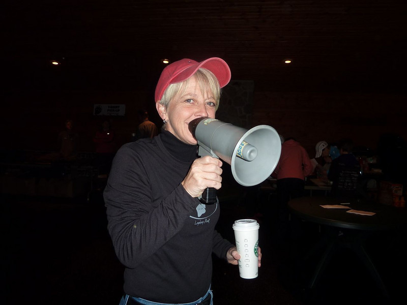 Barb doesn't really need a megaphone, but thought she'd give it a try.