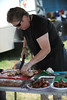 Bedford BBQ and Blues Fest<br /> CINDY HAYTER slices some of her Turducken for tasting.