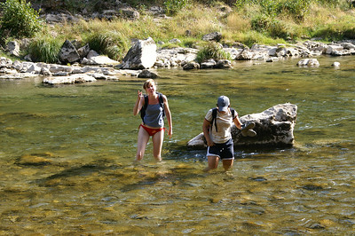 Eva and Helena - the river is colder than it looks...