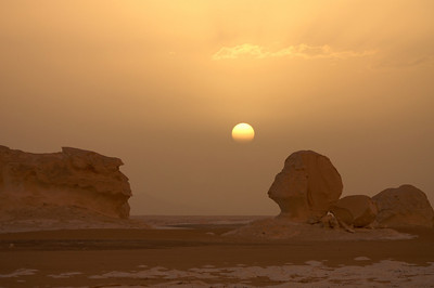 Sunset in the white desert