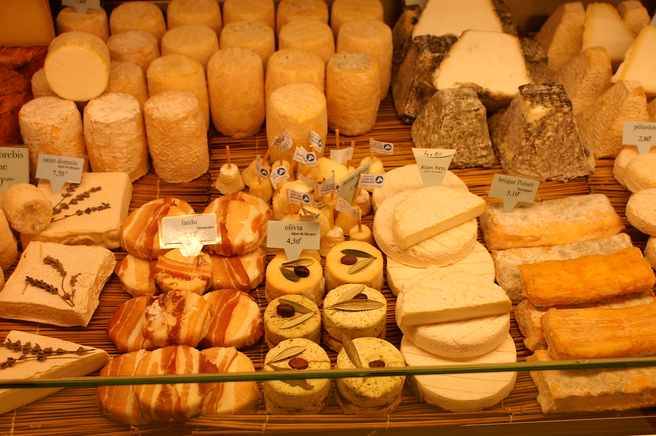 Cheese shop - pay attention to the cheese on the right, how gross is that?