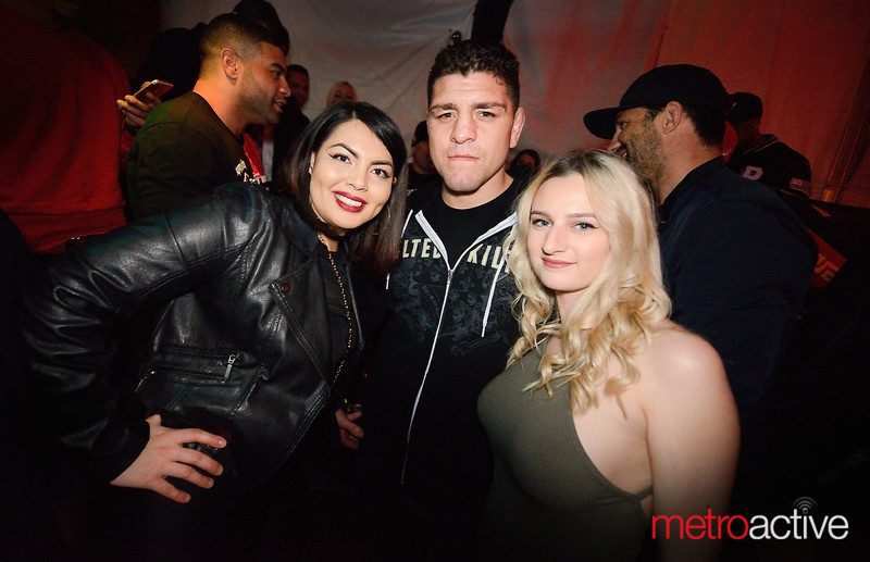 MMA & UFC welterweight fighter Nick Diaz with fans in Myth