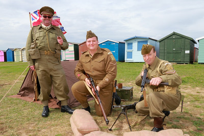 12 AUG 2018 – L-R: Simon Todd, Nathan Williams, Grant Harris (9th Battalion No 1 Platoon Harwich Home Guard) - Beside the Seaside Festival Dovercourt Bay - Photo Copyright © Maria Fowler 2018