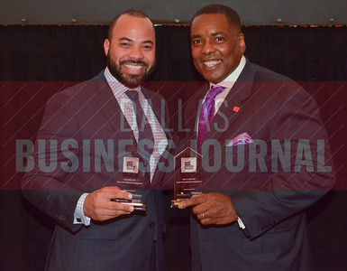 Toyota spokesman Javier Moreno and Plano mayor Harry LaRosiliere celebrate a pair of Dallas Business Journal's Best Real Estate Awards for Toyota North America including Deal of the Year and Best HQ Campus Deal.