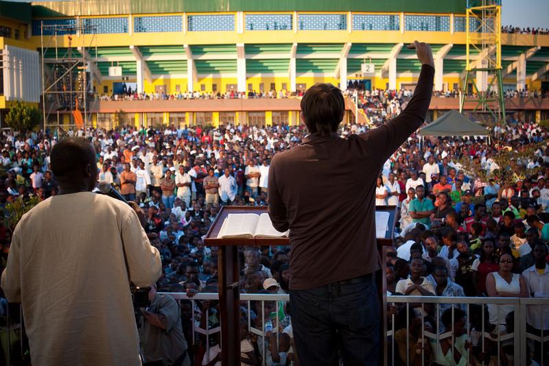 Andrew Palau preaching at Kigali Hope Festival, Rwanda