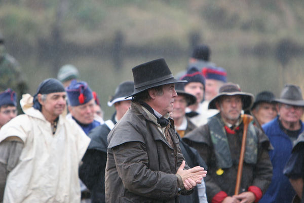Modern 11/25/05 reenactment of the Lewis and Clark Expidition landing at the site of Fort Clatsop (Winter Camp) after crossing to the south side of the mouth of the Columbia River