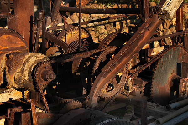 The gears, chains, and levers Bickel understood and organized. I find them rusting before my eyes.