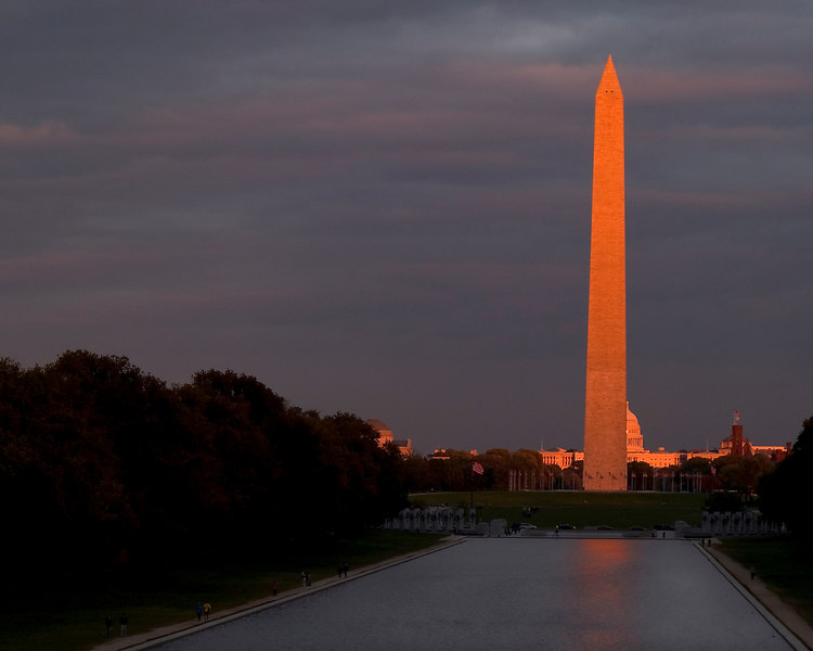 """Washington Monument at sunset, Washington D.C.<br /> I just happened to be on the steps of the Lincoln Memorial at sunset, and witnessed the """"magical moment"""" when the sunset lit monument shone against the darkening cloudy sky.<br /> Photo taken:  October 24, 2006"""